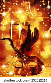 Masquerade mask and champagne. Happy New Year!