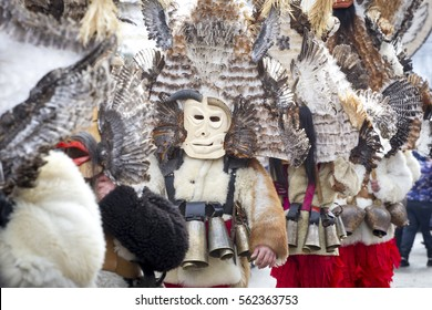 "Masquerade players called ""Kukeri"" during customary games in Bulgaria."