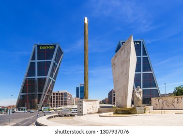 """MASRID, SPAIN - JUN 10, 2017: View of the square of Castile with the """"falling"""" towers"""