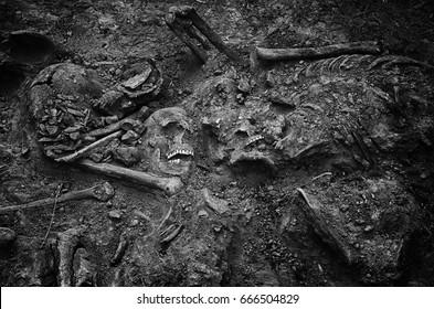Mass grave of soldiers killed during World War II. Kakhovka. Ukraine.