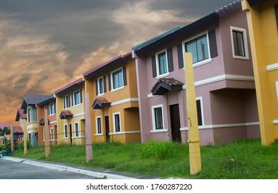 Mass housing row house ready for occupancy - spring season.