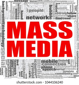 Mass media word cloud concept on white background, 3d rendering.