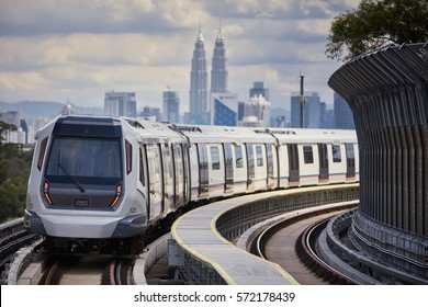 Mass Rapid Transit (MRT) train approaching towards camera. MRT system forming the major component of the railway system in Kuala Lumpur, Malaysia.