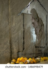 MASSA CARRARA, ITALY - AUGUST 23, 2019: Marble fallen away to reveal shape of Madonna and Child, since made into chapel in underground marble quarry.