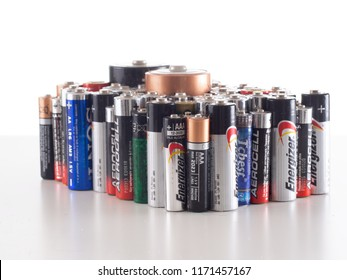 MASSA CARRARA, ITALY – SEPTEMBER 3, 2018: Un-ecofriendly old alkaline batteries waiting for disposal. Toxic waste. Separation of rubbish into separate categories is now widespread in Europe.