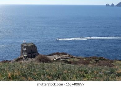Massa Lubrense, Campania, Italy - February 15, 2020: Minerva tower at the end of Punta Campanella