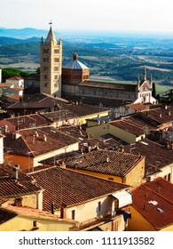 Massa Marittima, beautiful village in Tuscany Maremma, Italy. View from above with the Cathedral