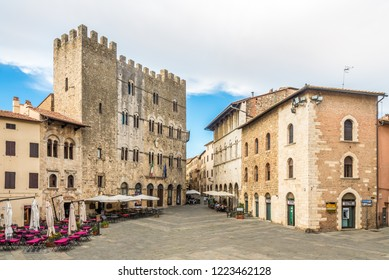 MASSA MARITTIMA,ITALY - SEPTEMBER 19,2018 - View at the Garibaldi place with building of Town hall in Massa Marittima. Massa Marittima is a town in the province of Grosseto.