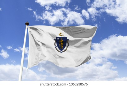 """Massachusetts flag mockup to the wind. Motto: """"By the sword we seek peace, but peace only under Freedom"""", located in the region of New England, one of the first regions to be colonized by the British."""