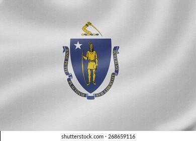 Massachusetts flag on the fabric texture background