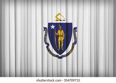Massachusetts flag pattern on the fabric curtain,vintage style