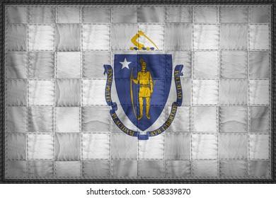 Massachusetts flag pattern on synthetic leather texture, 3d illustration style