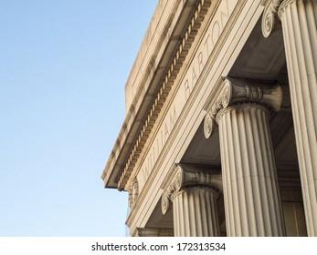 Massachusetts Institute of Technology building columns on Mass Ave.