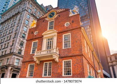 Massachusetts Old State House in Boston historic city center, located close to landmark Beacon Hill and Freedom Trail