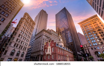 Massachusetts Old State House in Boston historic city center, located close to landmark Beacon Hill and Freedom Trail.