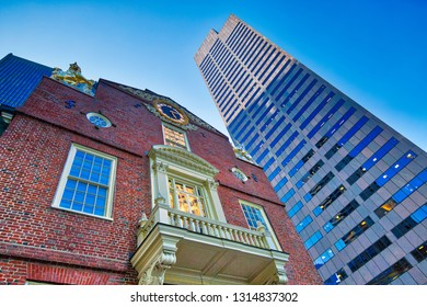 Massachusetts Old State House building in Boston downtown