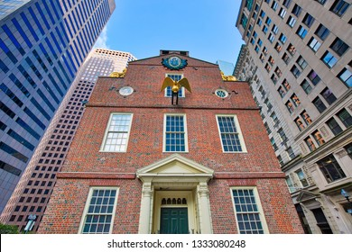 Massachusetts Old State House building, a landmark attraction frequently visited by numerous tourists