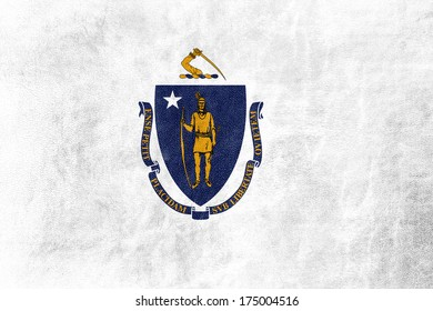 Massachusetts State Flag painted on leather texture