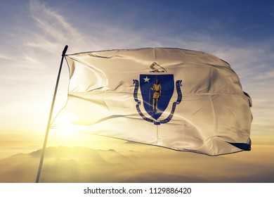 Massachusetts state flag textile cloth fabric waving on the top