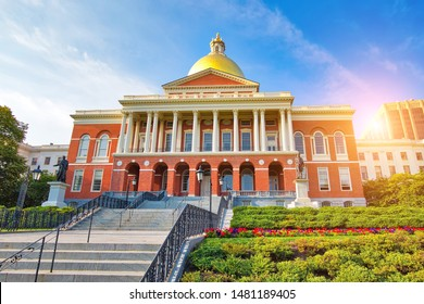 Massachusetts State House in Boston historic city center, located close to landmark Beacon Hill