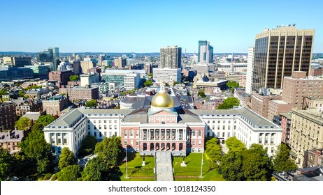 Massachusetts State House, capitol building in Boston Aerial View