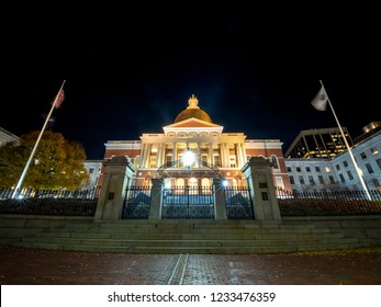 Massachusetts State House on a Clear Night