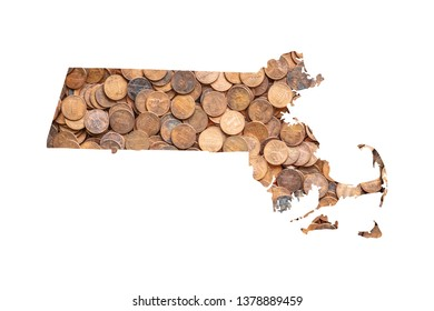 Massachusetts State Map and Money Concept, Piles of Coins, Pennies