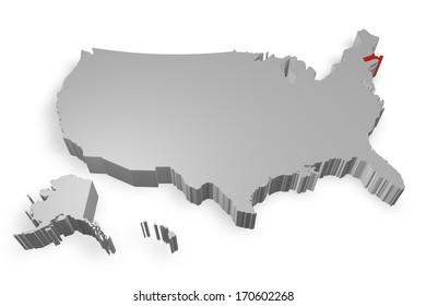Massachusetts state on Map of USA 3d model on white background