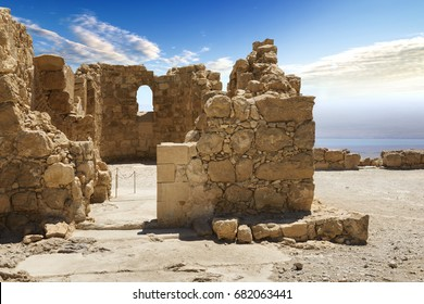 Massada fortress in israel in the desert near the dead sea with Jordan country in the front, middle east