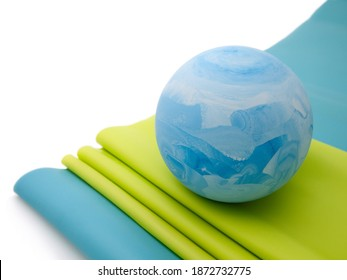 Massage ball and green and blue rubber
