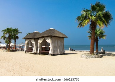 Massage canopies on the beach,  Fujairah (UAE - United Arabian Emirates)
