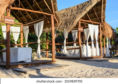 Massage canopies on the beach. Riviera Maya, Cancun, Mexico.