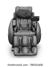 massage chair Brown leather comfortable reclining massage chair With Tapping and Kneading therapeutic massages isolated on white background. This has clipping path.