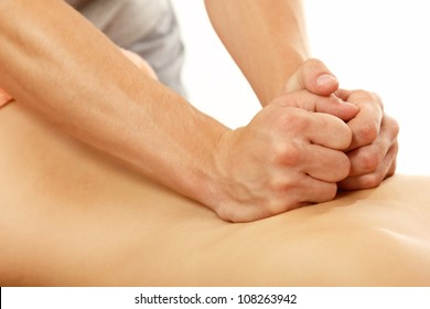 massage of female back, isolated on white background