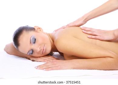 Massage of female back. Spa resort.