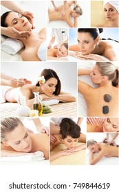 Massage and healing  collection. Many different pictures of women relaxing in spa. Health and therapy concept.