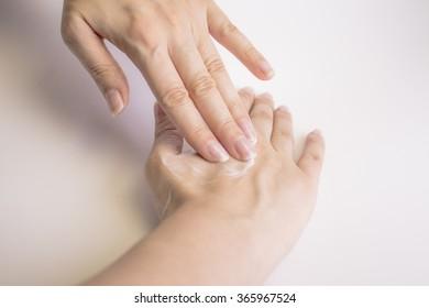 Massage on woman hands