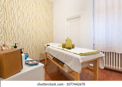 Massage room interior in spa center