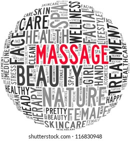 Massage and spa info-text graphics and arrangement concept on white background (word cloud)