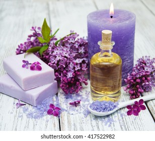 Massage and spa products with lilac flowers