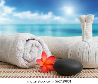 massage still life on beach