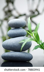 Massage stones with bamboo