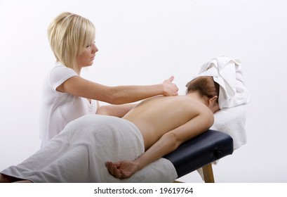 Massage therapist giving a massage