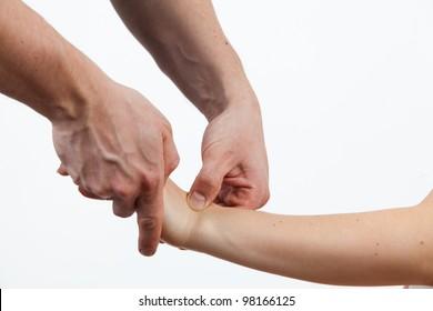 Massage therapist giving a massage. female receiving professional massage.