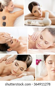 Massaging collage. Beautiful women having different types of massage over isolated background.