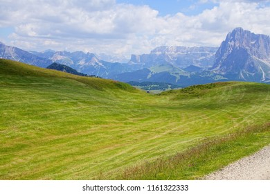Massif of the  Langkofel - Sasso Lungo and other mountains in the  Dolomites Alps, Italy