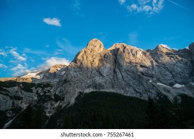The massif of Marmolada, Passo Fedaia, Trentino Alto Adige, Italy