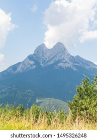 Massif and mountain peak El Pedraforca. It is one of the most emblematic mountains of Catalonia, Spain, the district of Bergada, in the province of Barcelona.