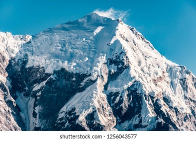 Massif mountain summit at Langtang valley national park in Nepal.