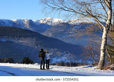 The massif of Vosges in winter